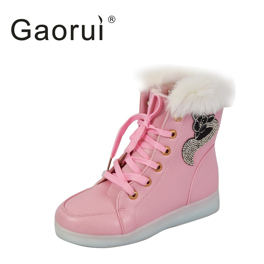 2016 New Luminous Shoes Women High Top Rabbit Fur Quilted Boots USB Rechargeable Led Shoes Black Winter Snow Shoes black and white senior rabbit fur hat
