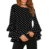 Elegant Polka Dot Print Flare Sleeve Women Blusas Shirts O Neck Long Sleeve Chiffon Blouse Ladies