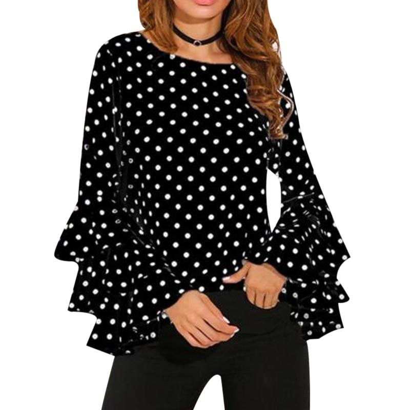 Элегантный горошек печати с расклешенными рукавами Для женщин blusas Рубашки для мальчиков с длинными рукавами и круглым вырезом Шифоновая бл...