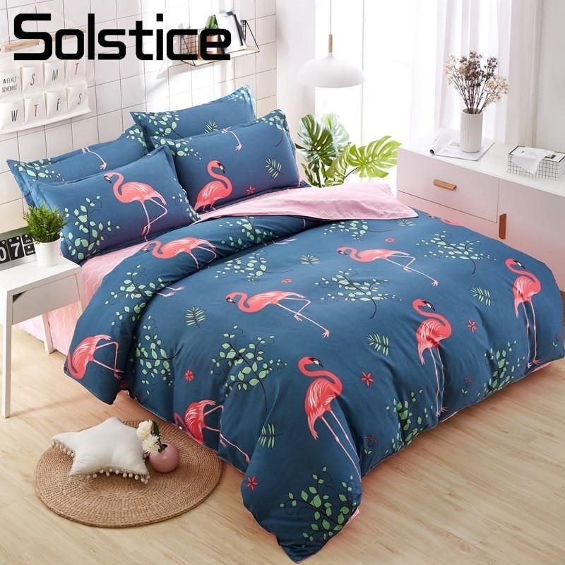 Solstice Home Textile Cartoon Flamingo Duvet Cover Pillowcase Wavy Line Bed Sheet Boy Girl Bedding Sets Kid Child Teen Bed Linen