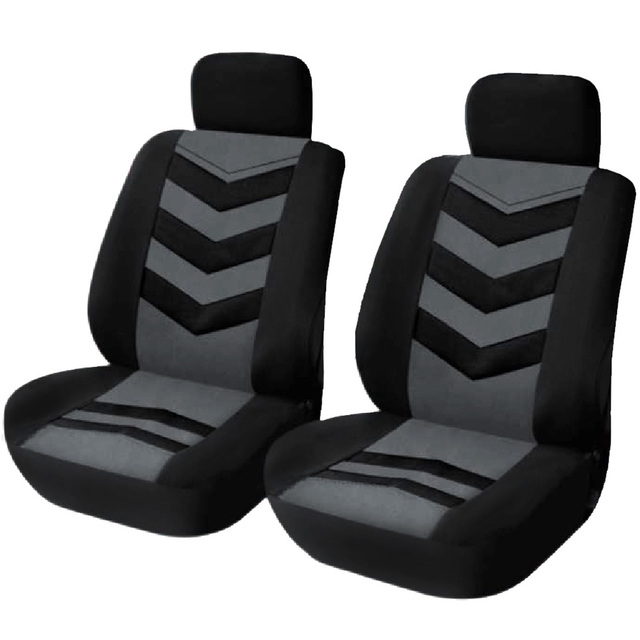 Universal Car Seat Covers Black Gray 2 Front Seat Set Universal Fit Most Cars Covers with Tire Track Detail Car Seat Protector