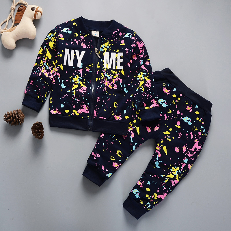 1 2 3 4 5 Years Baby Clothing Set Autumn Spring Casual Boys Boys Girls Clothes Long Sleeve Coats + Pants 2pcs Kids Suits 2018 spring autumn children clothing set boys and girls sports suit 3 12 years kids tracksuit baby girls & baby boys clothes set