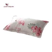 SlowDream Nordic Pillowcase Flamingos Cartoon Bedding Pillow Cover Decorative Home Textiles Single Double  48X74CM Size