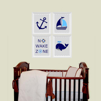 Nautical Nursery Prints No Wake Zone Sailboat Whale Anchor Ocean Nursery Art Canvas Wall Picture Canvas