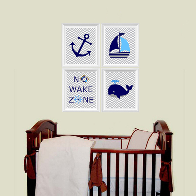 Ocean Nautical Canvas Painting No Wake Zone Sailboat Whale Anchor Nursery Prints Wall Art Pictures Kids