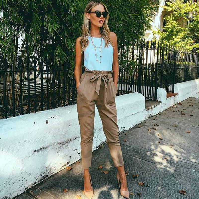 2019 Women Fashion Chiffon High Waist Harem Pants Bow Tie Drawstring Sweet Elastic Waist Pockets Casual Trousers