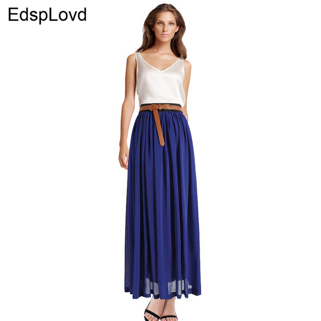EdspLovd Slim Vintage Chiffon Maxi Skirt Pleated Elastic Waist long Style Spring Summer Autumn Fall Plus Size New XXXL AS-8E