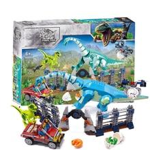 485pcs Jurassic World Tyrannosaurus Rex T. Rex Transport Triceratops Building Block Bricks Compatible  73934 Dinosaur Model Toys legoing jurassic world series t rex transport model building block brick toy for children birthday gift compatible 75933