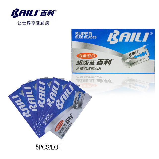 5pcs BAILI BP003 Safety Shaver Razor Double Edge Platinum Replaceable Stainless Steel Razor for Men