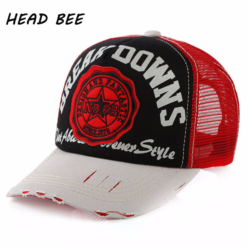 [HEAD BEE] 2017 Baseball Cap Mesh Adult Print Letters Summer Hat Fashion Style Hip Hop Hat for Men and Women ming dynasty emperor s hat imitate earthed emperor wanli gold mesh hat groom wedding hair tiaras for men 3 colors