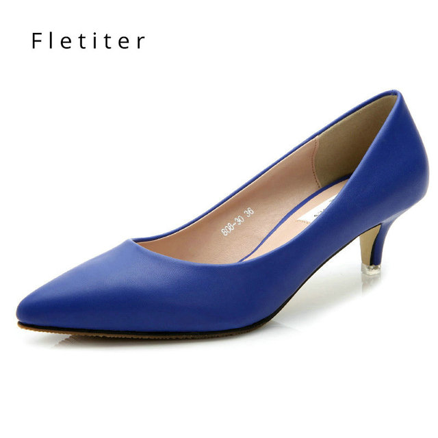 ffee9a60df6 Fletiter 2018 Women Shoes Summer low Heels 5CM Pumps Kitten Heels Shoes  Yellow Office Lady Classic Working Shoes Plus Size 34-41
