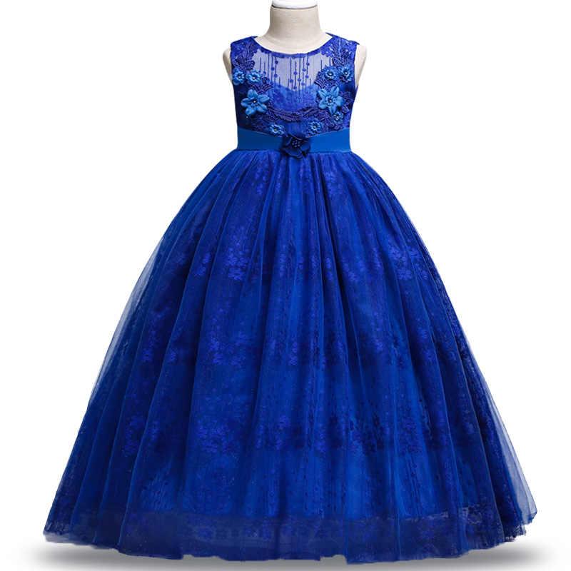 Vestido de baile de boda de niña de las flores de la boda Vestido formal vestido sin mangas de encaje para jóvenes 4 ~ 14 ysar