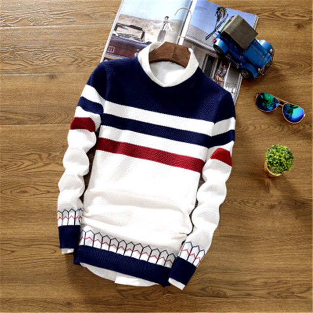 2017 new mens fashion knitted sweaters men's Long sleeve pullover O neck Striped Knitwear coat casual slim sweater men clothing