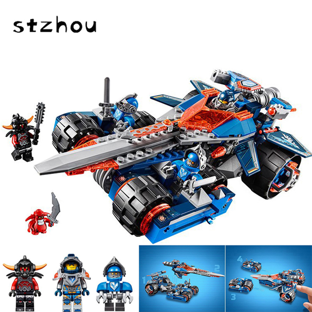 Hot Sale Nexo Knights Axl Clay's Rumble Blade Combination Marvel Building Blocks Toys For Kids Best Gift Compatible Legoe Nexus lepin nexo knights axl the fortrex combination marvel building blocks kits toys compatible legoe nexus