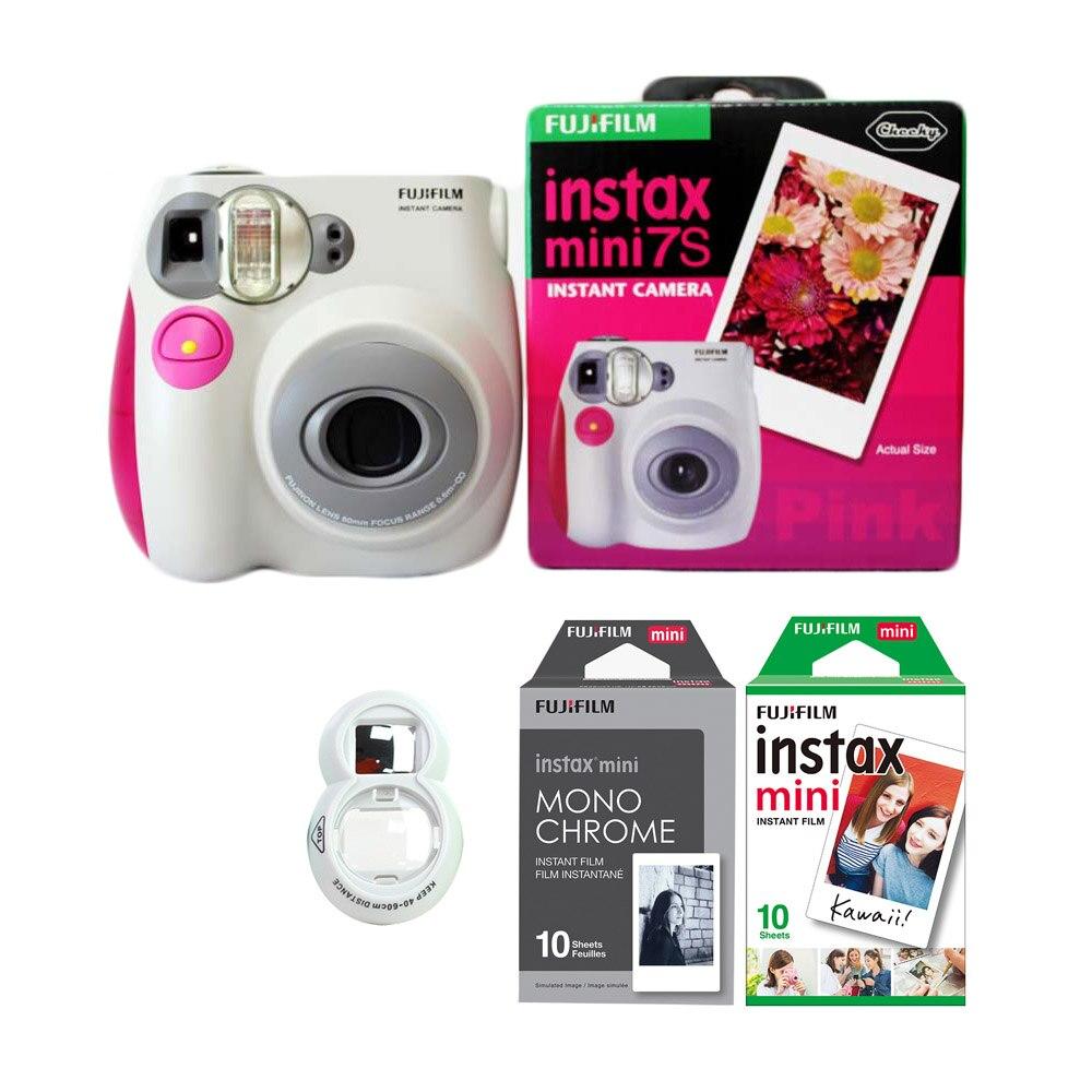 Appareil Photo instantané Fujifilm Instax Mini 7 s avec jeu de Films (10 feuilles blanches + 10 feuilles Monorchrome) et téléobjectif Selfie