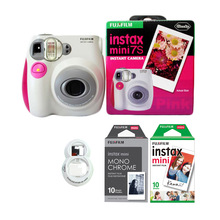 Fujifilm Instax Mini 7s Instant Photo Camera with Films Set (10 Sheets White + 10 Sheets Monorchrome) and Selfie Close-Up Lens