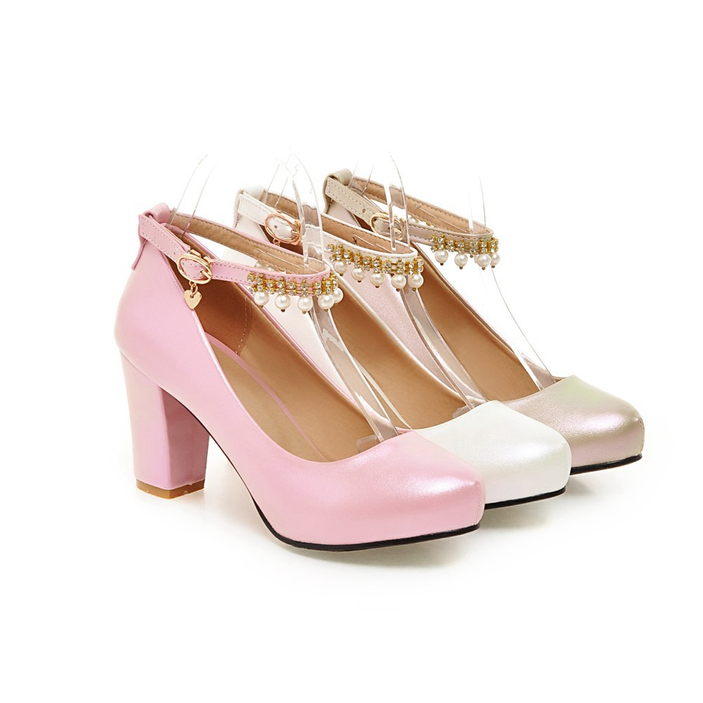 2017 Chunky High Heeled Pink Bridal Wedding Shoes Beaded White Female Buckle Elegant Pumps Silver Gold26