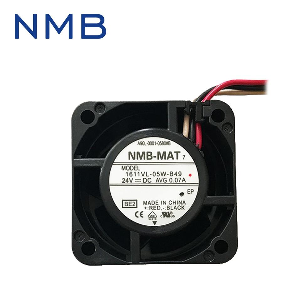 Free shipping NMB New  1611VL-05W-B49 4028 4CM 24V cooling fan nmb 3610kl 05w b49 9225 24v 3 wire cooling fan blower