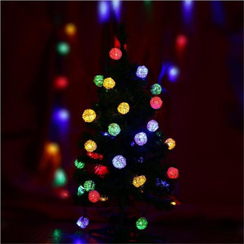 5m 28Led Colorful Rattan Ball String Lights For Christmas Tree Party Decoration Lighting Party Wedding Holiday Light luminous decoration wedding party column lamp colorful colonne lumineuse of tower landscape lighting