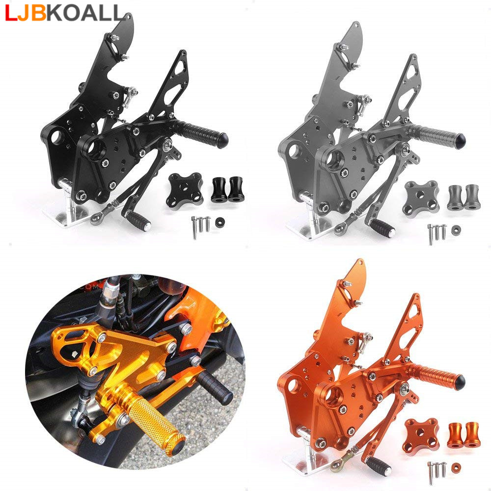 For KTM Duke 125 200 390 2011 2012 2013 2014 2015 2016 CNC Adjustable Rider Rear Sets Rearset Footrest Foot Rest Pegs Orange Blk cnc aluminum motorcycle adjustable rearset rear set foot pegs pedal footrest for kawasaki ninja 650 ex650 er 6n er 6f 2012 2016