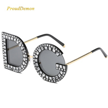 2019 New Diamond Oversized Square Sunglasses Women Men High quality Famous Brand Sun glasses Luxury Eyeglasses Lentes de sol