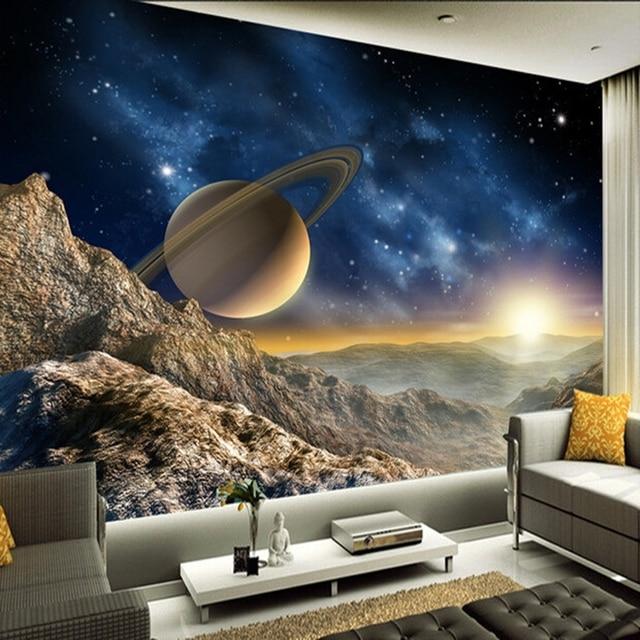 Custom 3d mural large mural nebula universe ktv themed room background wall bedroom living room wallpaper