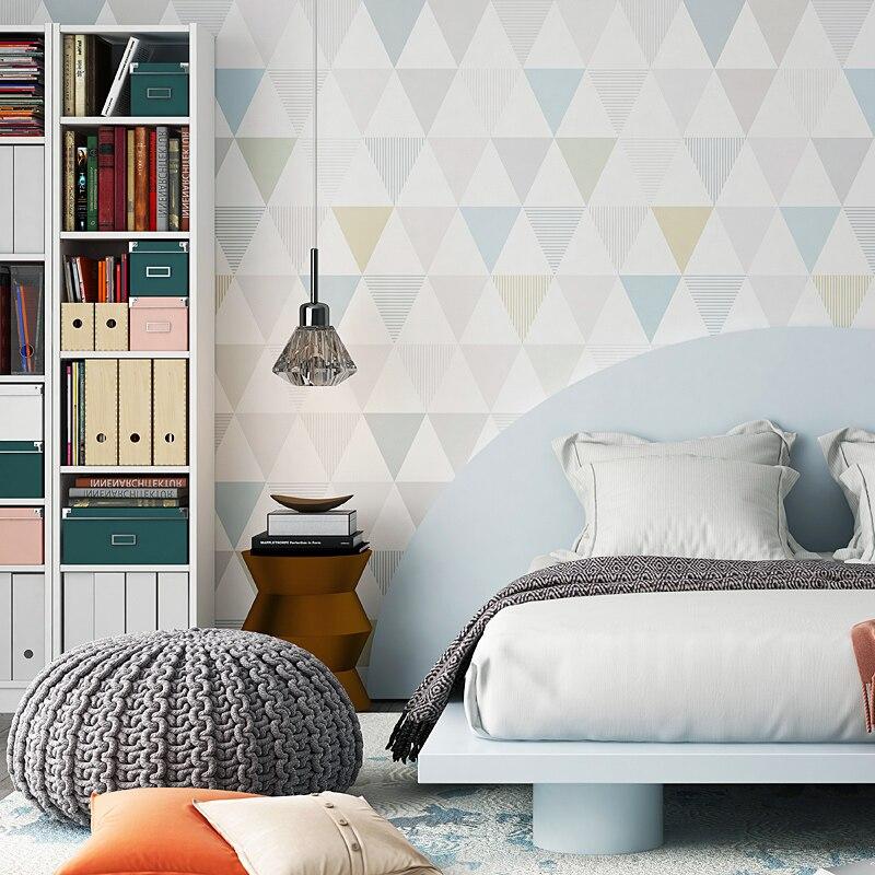 Современная Геометрическая Алмазная настенная бумага Nordic Ins ветер спальня для детей исследование гостиная ТВ фон нетканый настенный бумаж...