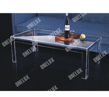 ONE LUX Rectangular Acrylic Coffee Table,CLear Lucite Cocktail Tea Tables V  Legs 2021610110