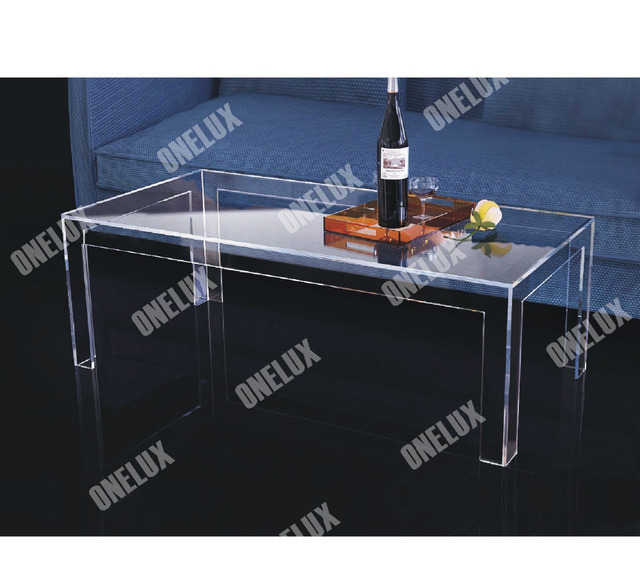 ONE LUX Rectangular Acrylic Coffee Table,CLear Lucite