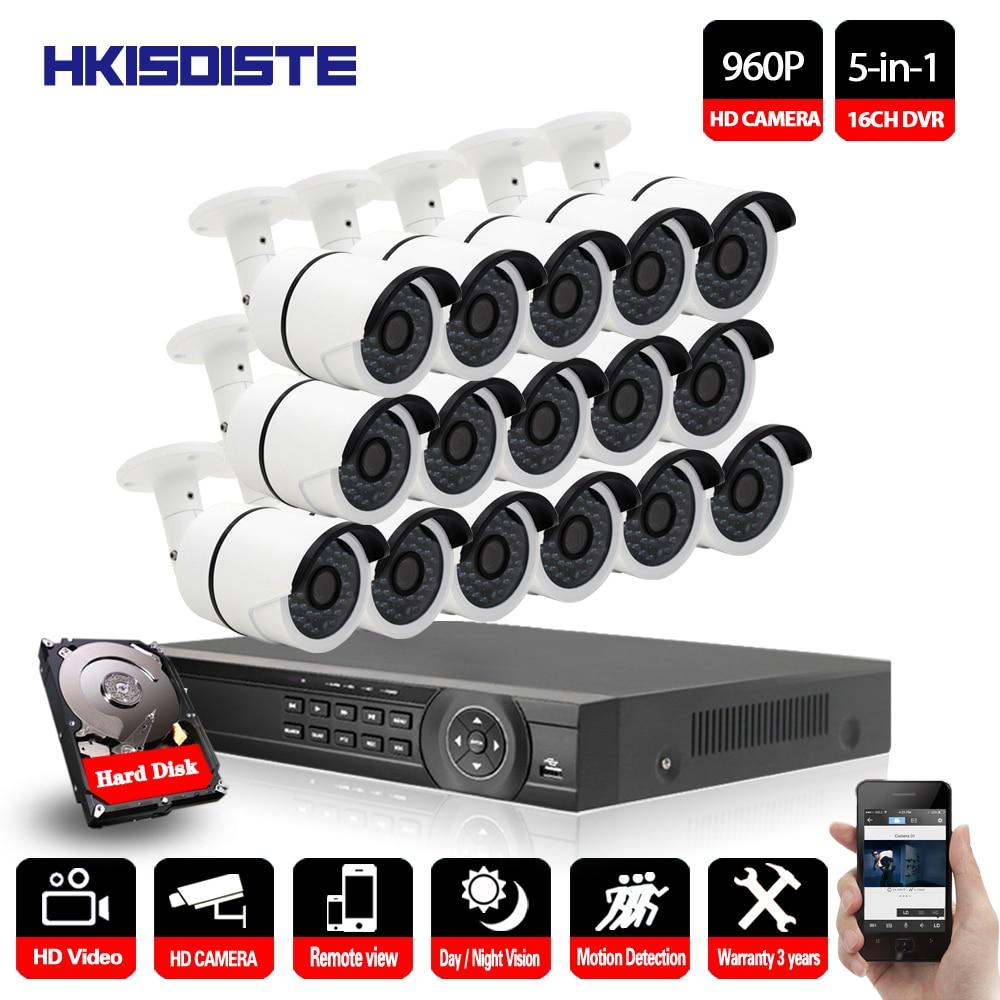 16CH CCTV System HDMI 1080P output AHD CCTV DVR 16PCS 1.3MP IR Outdoor Security Nightvision 960P AHD Camera Surveillance System16CH CCTV System HDMI 1080P output AHD CCTV DVR 16PCS 1.3MP IR Outdoor Security Nightvision 960P AHD Camera Surveillance System