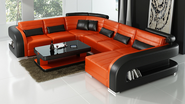 Delicieux Orange And Black Color Leather Sofa 0413 F3002