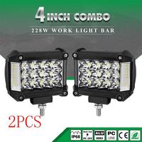 "Dragonpad 4"" 228W LED Work Light Bars Combo Side Shooter Driving Lamps for JEEP Offroad Car Lighting Supplies