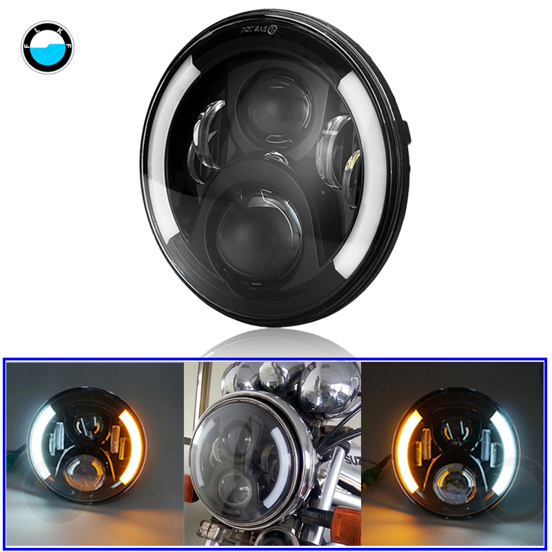 7 LED Daymaker Headlights with White/Amber halo ring angel eyes turn singal DRL lamps for Harley Davidson Moto.