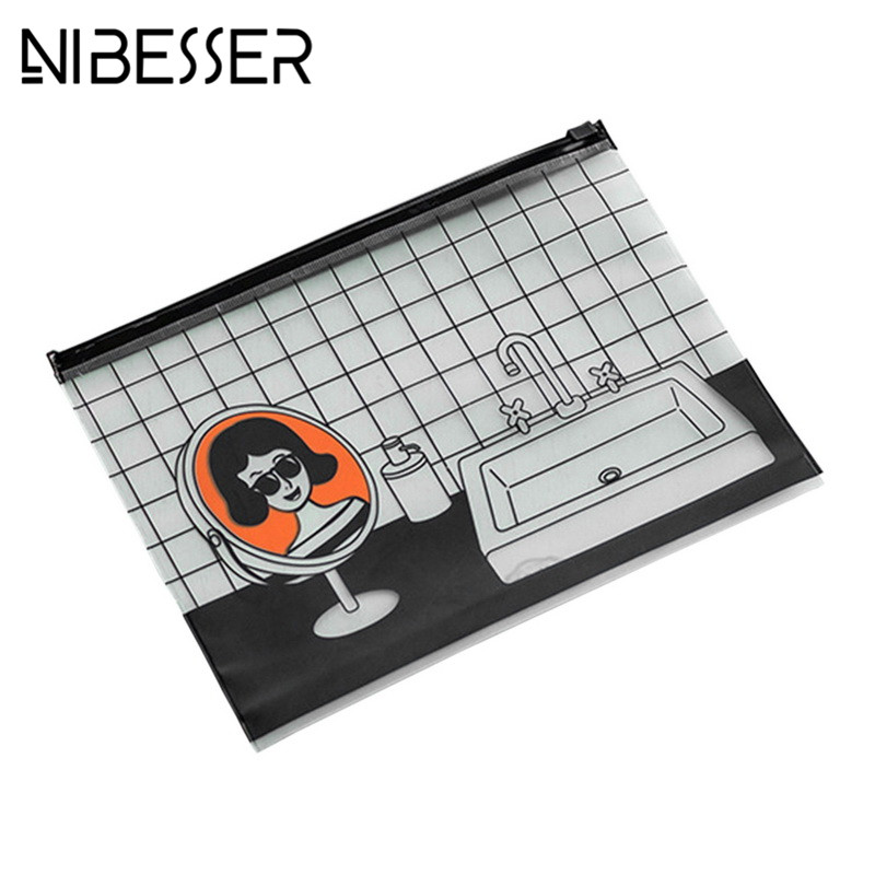 NIBESSER Cartoon Women Transparent Travel Cosmetic Bags PVC Toiletry Pouch Beauty Case Make Up Bag Organizer Wash Bags Case