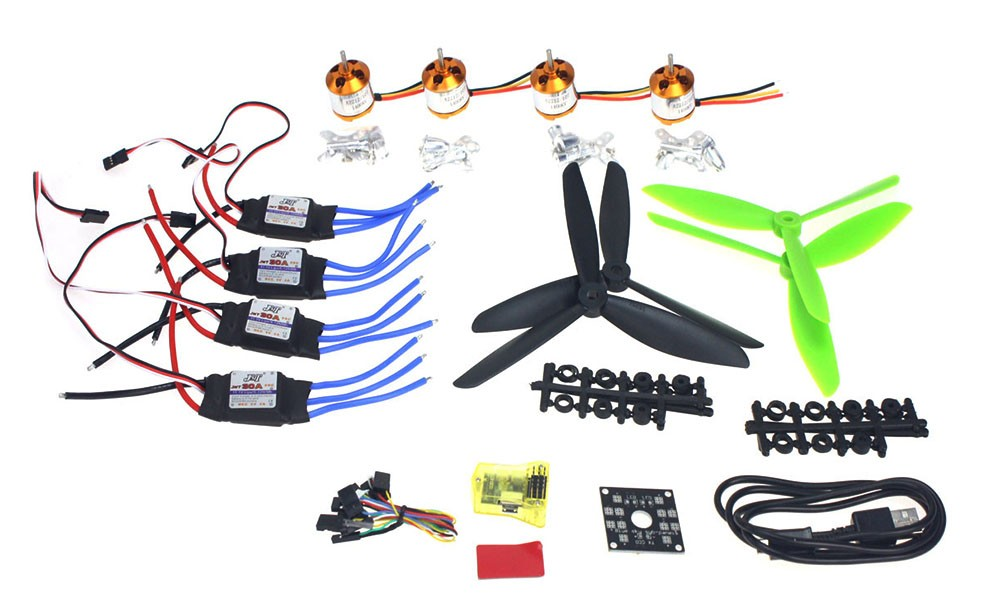 DIY  Mini Drone Helicopter Parts ARF Kit: Brushless Motor 30A ESC CC3D Controller Board Flight Controller F02047-D led rc helicopter 250mm carbon fiber frame cc3d flight controller brushless motor 12a esc fs i6 qav250 rtf mini drone quadcopter