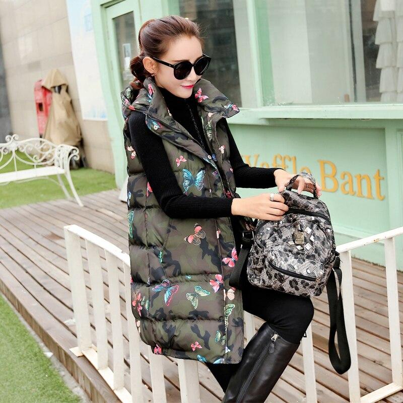 Army rose Gilet Long Vers Capuche Coton Veste Mode À Le Style Automne Camouflage Green Manches 1027 Coréenne Femmes Hiver Bas Sans Rembourré HF1aqwSx5