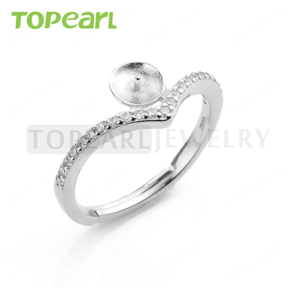 Lot 925 Sterling Silver Simple Ring Blank Cz Pearl  Ring Settings