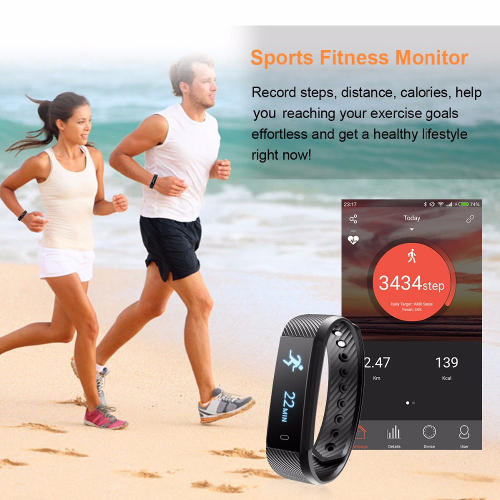 Maxinrytec ID115 Smart Bracelet Fitness Tracker Step Counter Activity Band  Alarm Clock Vibration Wristband IOS Android phone-in Smart Wristbands from
