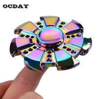 OCDAY Fidget Spinner Multicolor Circular Metal Finger Spinners ADHD Austim Anxiety Stress Adults Kid Gyro Toys