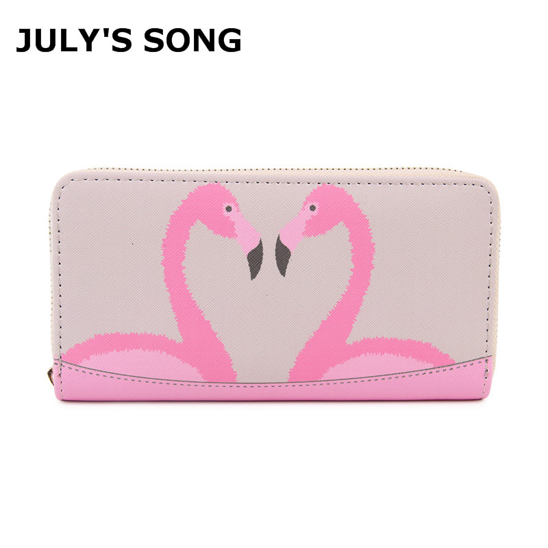JULY'S SONG New Flamingo Printing Wallet Women PU Leather Handbag Large Capacity Clutch Wallet Brand Purse Card Holder Bag