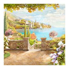 seaside scenic Moge Diamond Painting Full Round garden flower landscape New DIY Sticking Drill Cross Embroidery 5D