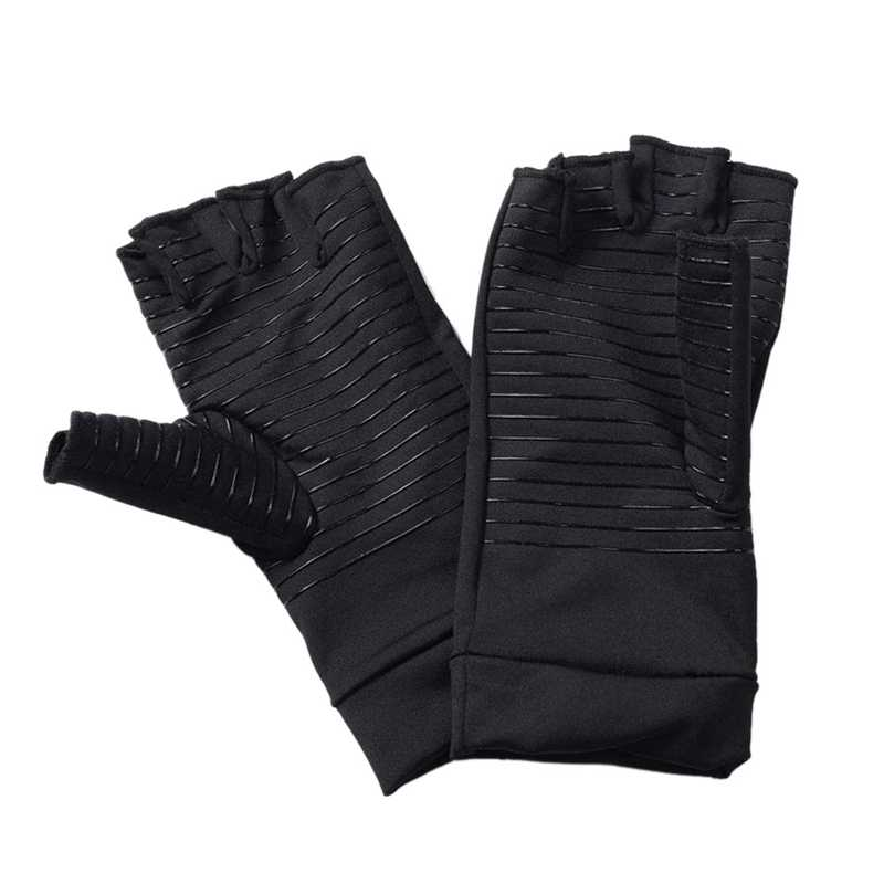 Copper Infused Compression Arthritis Gloves for Men & Women, Fingerless Carpal Tunnel Gloves for Relieve Pains & Computer Typi