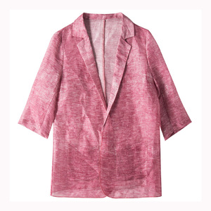 Image 5 - Women blazers 50% 실크 50% 리넨 솔리드 3/4 sleeved office 레이디 블레이저 2019 new fall winter out wear