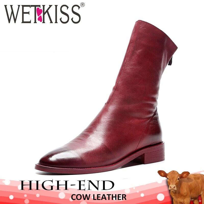 WETKISS/женские красные ботинки на низком каблуке, обувь с круглым носком, кожаные ботильоны с градиентом, Женская осенне-зимняя обувь, женские ...