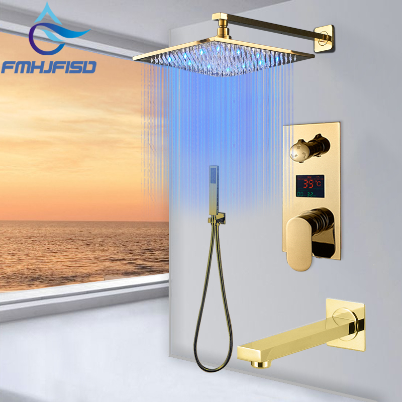 Golden Polished Digitail Display Bath Shower Faucet Rainfall LED 3 Way Bathroom Faucet Triple Way LCD Mixer Valve
