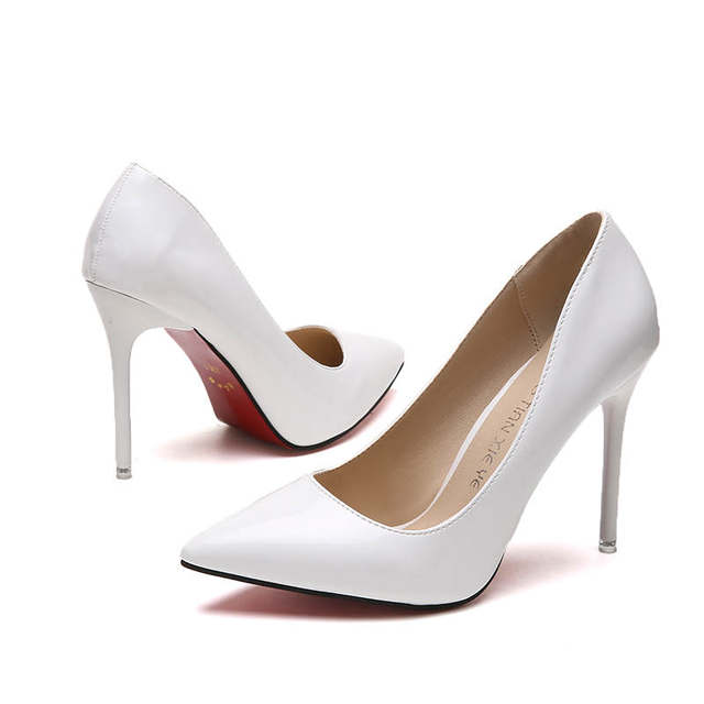 2019 HOT Women Shoes Pointed Toe Pumps Patent Leather Dress  High Heels Boat Shoes Wedding Shoes Zapatos Mujer Blue White 34