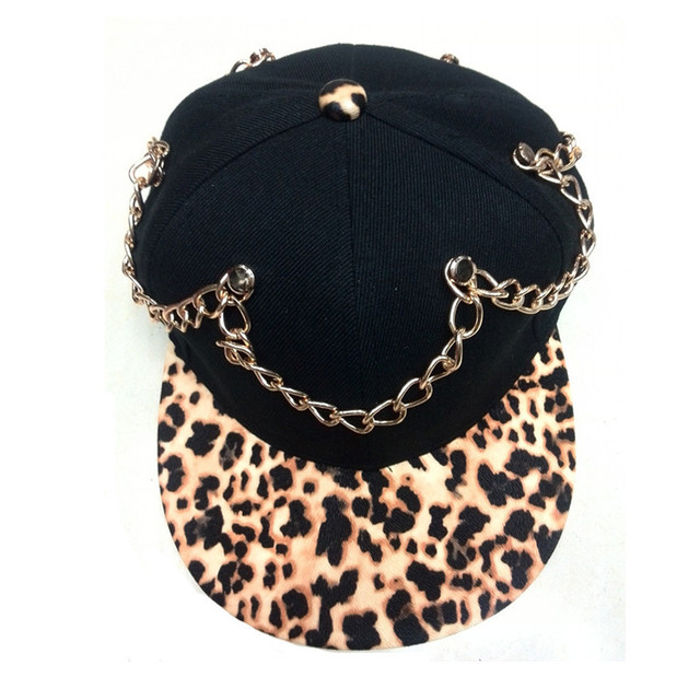 2017 new arrival high quality heavy punk chain leopard print brim adjustable gravity falls distressed baseball caps