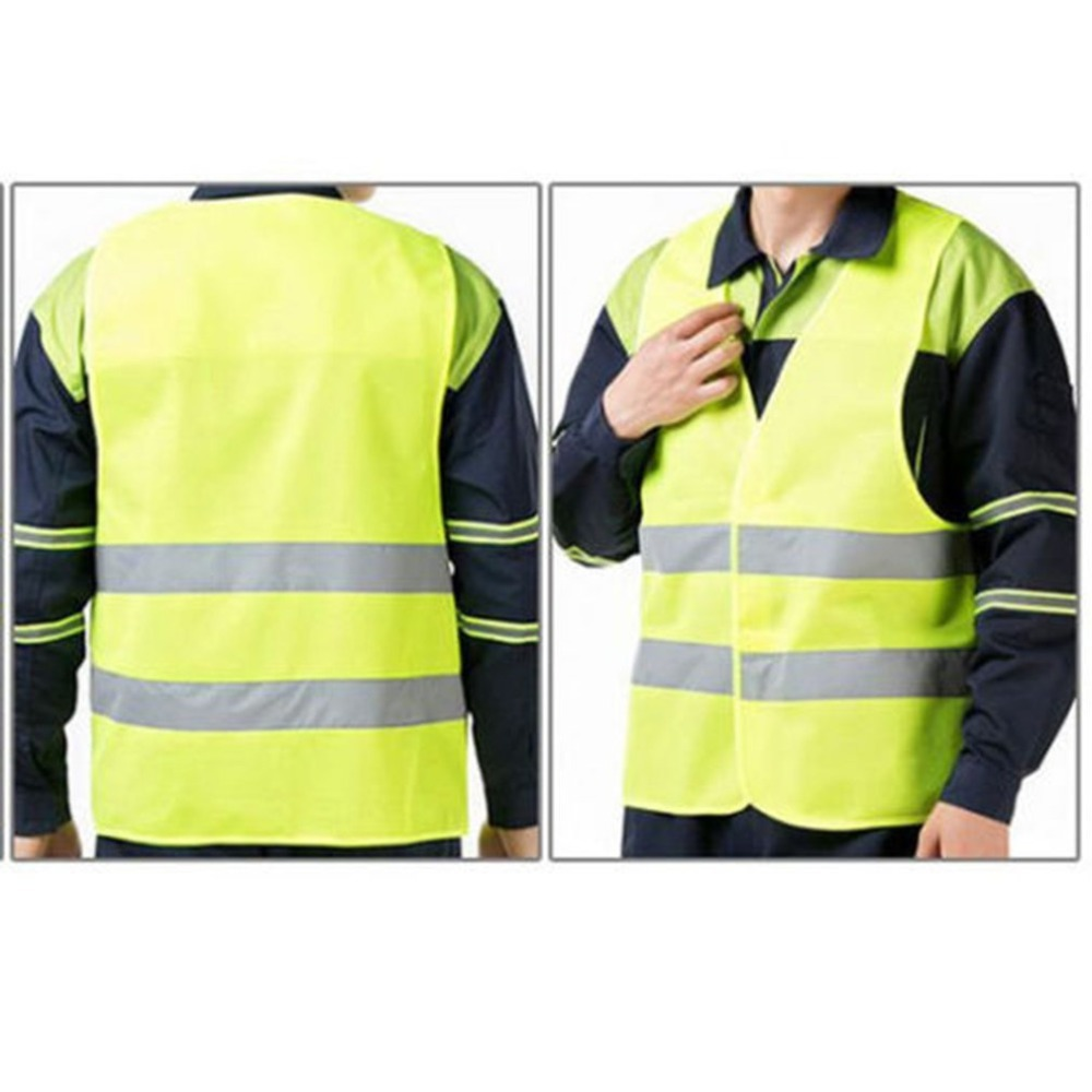 Unisex Reflective Vest Workwear High Visibility Day Night Running Cycle Warning Adult Yellow Vest XL XXL XXXL Safety Vest