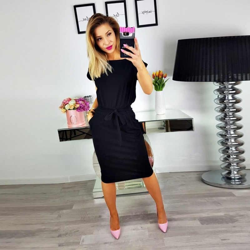 Новое Сексуальное Женское Платье с круглым вырезом и коротким рукавом, однотонная туника с поясом, свободные винтажные женские платья, вечерние платья с карманами