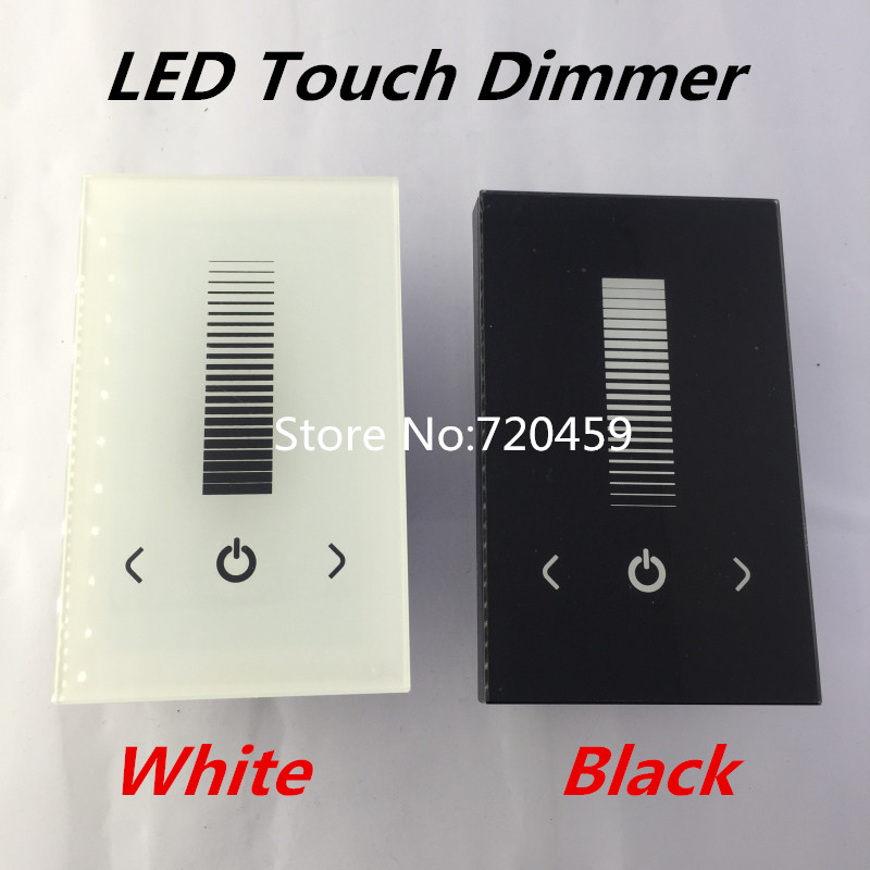 LED Touch Panel Brightness Controller Dimmer Wall Switch For Single Color LED Strip Light Lamp 8A DC12-24V White/Black tp004 glass touch panel single color led dimmer controller black